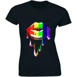 Rainbow Lips Proud Cool T-shirt 2pcs 2XL + 2pcs L
